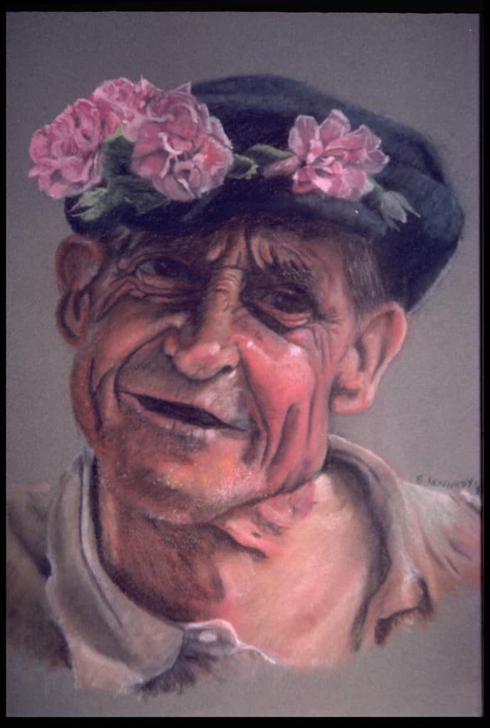 Rose Vendor Pastel Drawing